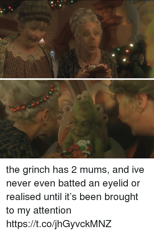 Funny, The Grinch, and Never: the grinch has 2 mums, and ive never even batted an eyelid or realised until it's been brought to my attention https://t.co/jhGyvckMNZ