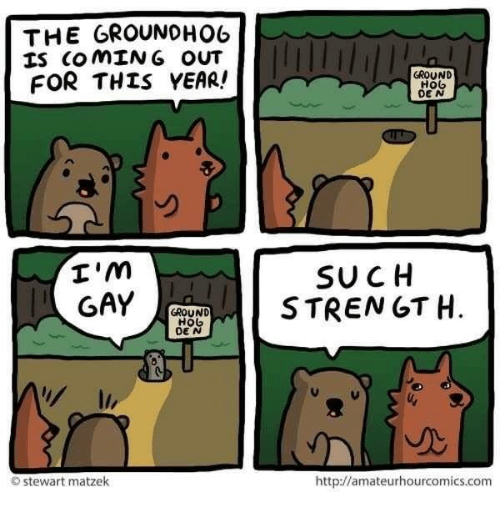 Im Gay, Gay, and Groundhog: THE GROUNDHOG  IS COMING OUT  FOR THIS YEAR!  I'm  GAY  GROUND  HO  O Stewart matzek  GROUND  H06  DEN  SUCH  STRENGTH  http://amateurhourcomics.com