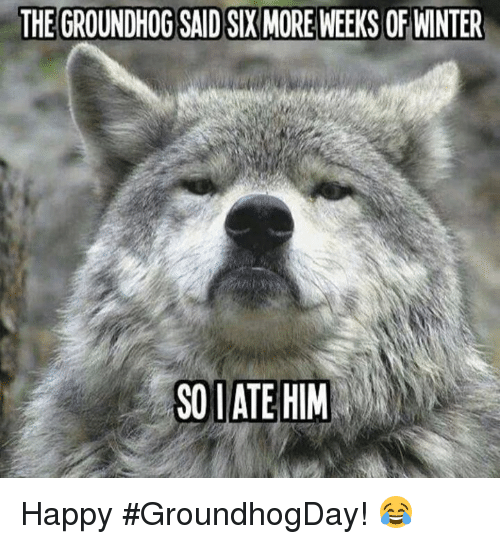 Memes, 🤖, and Groundhog: THE GROUNDHOG SAIDSIX MORE WEEKS OF WINTER  SO l ATE HIM Happy #GroundhogDay! 😂
