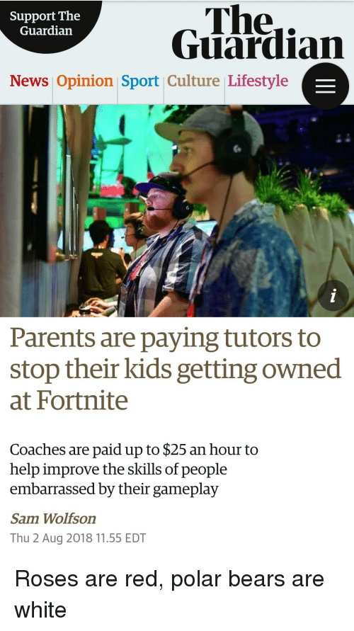 News, Parents, and Reddit: The.  Guardian  Support The  Guardiarn  News Opinion Sport Culture Lifestyle  Parents are paying tutors to  stop their kids getting owned  at Fortnite  Coaches are paid up to $25 an hour to  help improve the skills of people  embarrassed by their gameplay  Sam Wolfson  Thu 2 Aug 2018 11.55 EDT