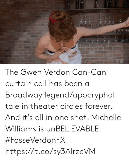 Memes, Forever, and Circles: The Gwen Verdon Can-Can curtain call has been a Broadway legend/apocryphal tale in theater circles forever. And it's all in one shot. Michelle Williams is unBELIEVABLE. #FosseVerdonFX https://t.co/sy3AIrzcVM