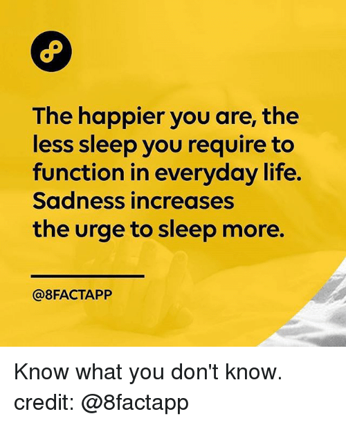 Life, Memes, and Sleep: The happier you are, the  less sleep you require to  function in everyday life.  Sadness increases  the urge to sleep more.  @8FACTAPP Know what you don't know. credit: @8factapp