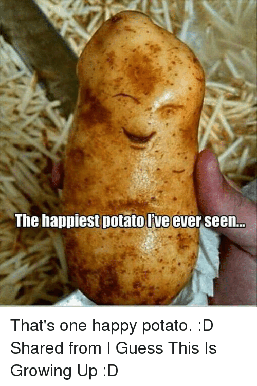 Growing Up, Memes, and Guess: The happiest potato Ive ever seen. That's one happy potato. :D  Shared from I Guess This Is Growing Up :D