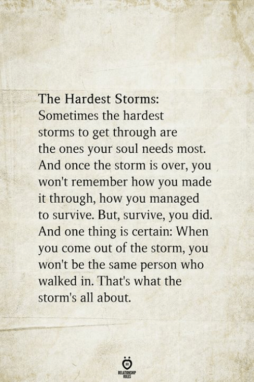 How, Once, and Storm: The Hardest Storms:  Sometimes the hardest  storms to get through are  the ones your soul needs most.  And once the storm is over, you  won't remember how you made  it through, how you managed  to survive. But, survive, you did.  And one thing is certain: When  you come out of the storm, you  won't be the same person who  walked in. That's what the  storm's all about.
