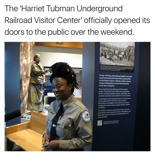 "Memes, Harriet Tubman, and Neighbors: The Harriet Tubman Underground  Railroad Visitor Center"" officially opened its  doors to the public over the weekend  Living, working, and praying together free and  enslaved blacks built close-knit communities  on the Eastern Shore. Tubman relied on these  caring relationships to hold onto humanity  in the face of slavery.  Here, free blacks lived side by side with enslaved  people. They shared news, skills, and created family  bonds, Free black maritime workers called Black Jacks,  provided information and a network of communication,  It was illegal to teach enslaved people to read and write.  Formal education for free blacks was restricted.  But freeman and neighbor Jacob Jackson was literate,  enabling him to pass along messages between Tubman  and others.  Yetall blacks suffered at the hands of whites who were  protected by social convention and slaveholders who  physically abused or killed their enslavedpeople were  rarely punished.  Explore this storyanthebyway  af Madison and Church"