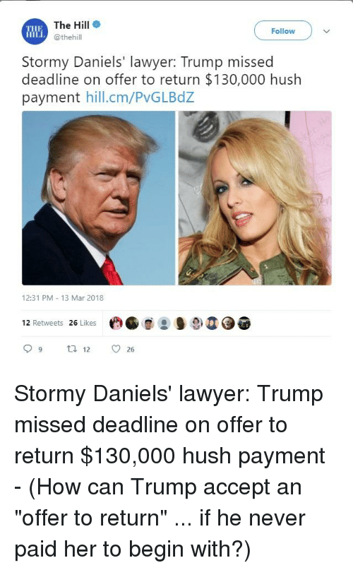 The Hill E Follow Stormy Daniels Lawyer Trump Missed Deadline On