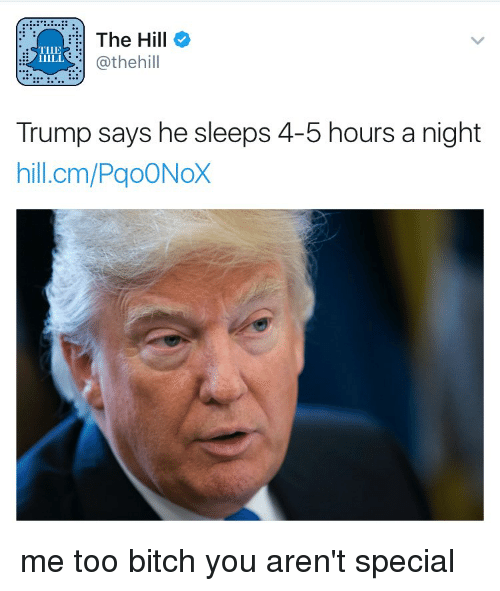 Girl Memes, The Hills, and The Hill: The Hill  TILE  Cathehill  Trump says he sleeps 4-5 hours a night  hill.cm/PgoONoX me too bitch you aren't special