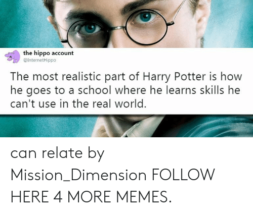 Dank, Harry Potter, and Memes: the hippo account  @InternetHippo  The most realistic part of Harry Potter is how  he goes to a school where he learns skills he  can't use in the real world. can relate by Mission_Dimension FOLLOW HERE 4 MORE MEMES.
