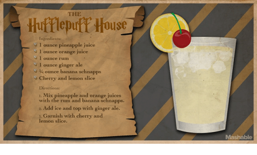 Juice, Banana, and House: THE  Hufflepuff House  Ingredients:  1 ounce pineapple juice  1 ounce orange juice  I ounce rum  1 ounce ginger ale  34ounce banana schnapps  ery and lemon slice  Directions:  . Mix pineapple and orange juices  with the rum and banana schnapps.  2. Add ice and top with ginger ale.  Garnish with cherry and  5.  lemon slice  Mashable
