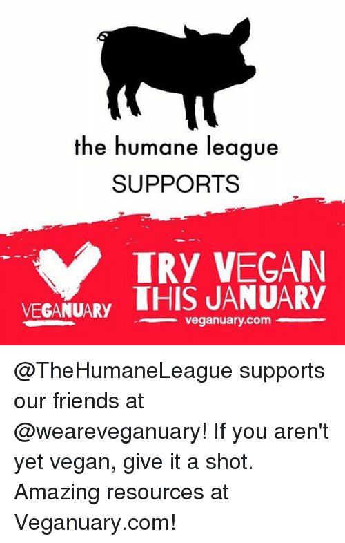 Memes, 🤖, and League: the humane league  SUPPORTS  TRY VEGAN  VEGANUARY  THIS JANUARY  veganuary.com @TheHumaneLeague supports our friends at @weareveganuary! If you aren't yet vegan, give it a shot. Amazing resources at Veganuary.com!