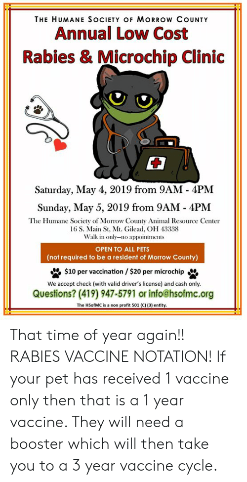 The HUMANE SOCIETY OF MORROW COUNTY Annual Low Cost Rabies