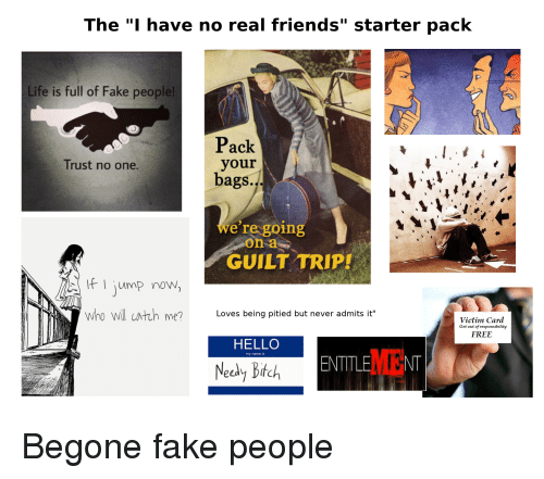 The I Have No Real Friends Starter Pack Life Is Full Of Fake People