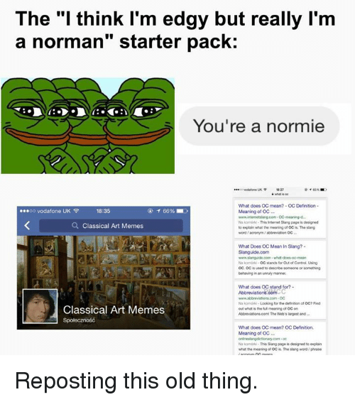 the i think i m edgy but really l m a norman starter pack you re a