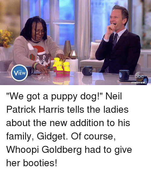 "Booty, Memes, and Puppies: THE  IEW  HEVIE ""We got a puppy dog!"" Neil Patrick Harris tells the ladies about the new addition to his family, Gidget. Of course, Whoopi Goldberg had to give her booties!"