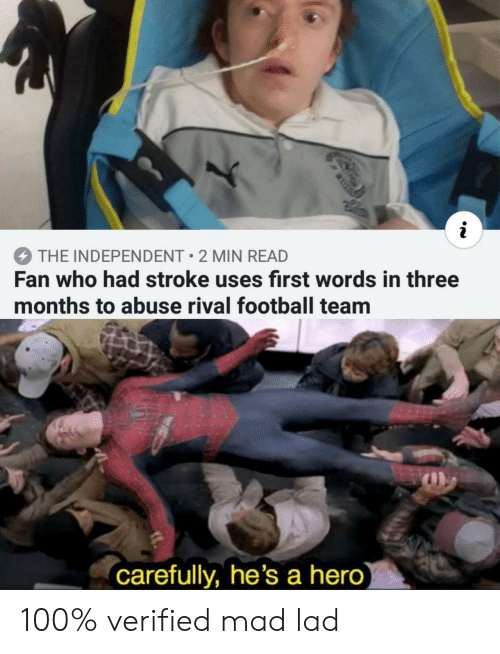 Anaconda, Football, and Mad: THE INDEPENDENT 2 MIN READ  Fan who had stroke uses first words in three  months to abuse rival football team  carefully, he's a hero 100% verified mad lad