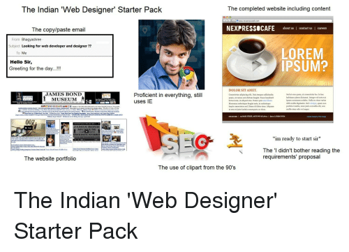 The indian web designer starter pack the completed website hello james bond and reddit the indian web designer starter pack m4hsunfo