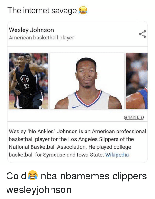 "Basketball, College, and College Basketball: The internet savage  Wesley Johnson  American basketball player  @NBAMEMES  Wesley ""No Ankles"" Johnson is an American professional  basketball player for the Los Angeles Slippers of the  National Basketball Association. He played college  basketball for Syracuse and lowa State. Wikipedia Cold😂 nba nbamemes clippers wesleyjohnson"