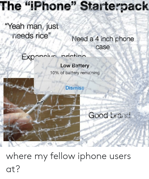 """Iphone, Phone, and Yeah: The """"iPhone"""" Starterpack  """"Yeah man, just  needs rice  Need a 4 inch phone  95  case  Low Battery  10% of battery remaining  Dismiss  Good brand where my fellow iphone users at?"""