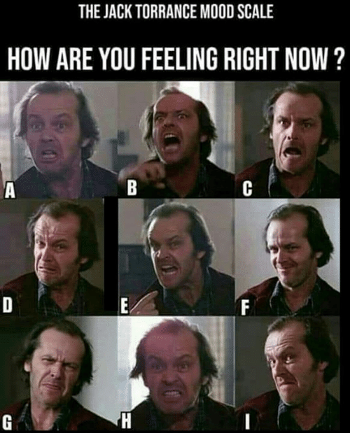 The Jack Torrance Mood Scale How Are You Feeling Right Now Meme On Me Me