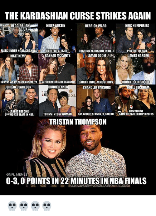 Bruce Jenner, Finals, and Funny: THE KARDASHIAN CURSE STRIKESAGAIN  KRIS HUMPHRIES  MILES AUSTIN  DERRICK WARD  FALLS UNDER NCAA SCANDAL  CAREER FALLSOFF  RUSHING YARDS CUT IN HALF  PPG CUT IN HALF  RASHAD MCCANTS  LAMARODOMU  JAMES HARDEN  MATT KEMP  HAS2ND WORSTSEASON CAREER BLAMES KHLOEFORFAILED NBACAREER CAREER ENDS,ALMOST DIES  ROCKETS FINISH 8TH  BRUCE JENNER  CHANDLER PARSONS  JORDAN CLARKSON  ODELL BECKHAM  HAS WORST  LAKERS BECOME  2ND WORST TEAMINNBA  l TURNS INTO A WOMAN  HAS WORST SEASON OF CAREER  GAME OF CAREERIN PLAYOFFS  TRISTAN THOMPSON  @NFL MEMES  0-3,0POINTSIN 22 MINUTES IN NBA FINALS 💀💀💀💀