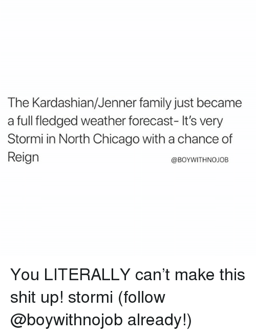 Chicago, Family, and Funny: The Kardashian/Jenner family just became  a full fledged weather forecast- It's very  Stormi in North Chicago with a chance of  Reign  @BoYWITHNOJOB You LITERALLY can't make this shit up! stormi (follow @boywithnojob already!)