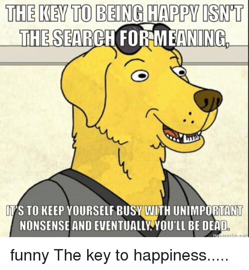 Keep Yourself Busy To Stay Happy Quotes: The KEY TO BEING HAPPY ISNT THESEARCH FORMEANINGL ITS TO