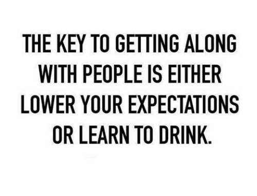 Memes, 🤖, and Key: THE KEY TO GETTING ALONG  WITH PEOPLE IS EITHER  LOWER YOUR EXPECTATIONS  OR LEARN TO DRINK.