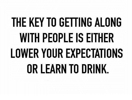 Dank, 🤖, and Key: THE KEY TO GETTING ALONG  WITH PEOPLEISEITHER  LOWER YOUR EXPECTATIONS  OR LEARN TO DRINK