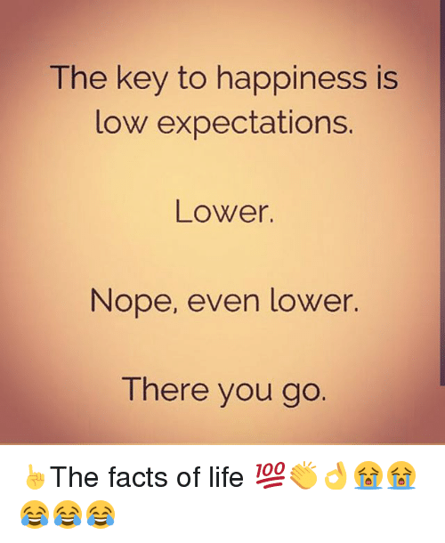 Facts, Life, and Memes: The key to happiness is  low expectations.  Lower.  Nope, even lower.  There you go ☝The facts of life 💯👏👌😭😭😂😂😂