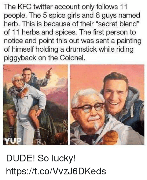 "Dude, Funny, and Girls: The KFC twitter account only follows 11  people. The 5 spice girls and 6 guys named  herb. This is because of their ""secret blend""  of 11 herbs and spices. The first person to  notice and point this out was sent a painting  of himself holding a drumstick while riding  piggyback on the Colonel.  YUP DUDE! So lucky! https://t.co/VvzJ6DKeds"