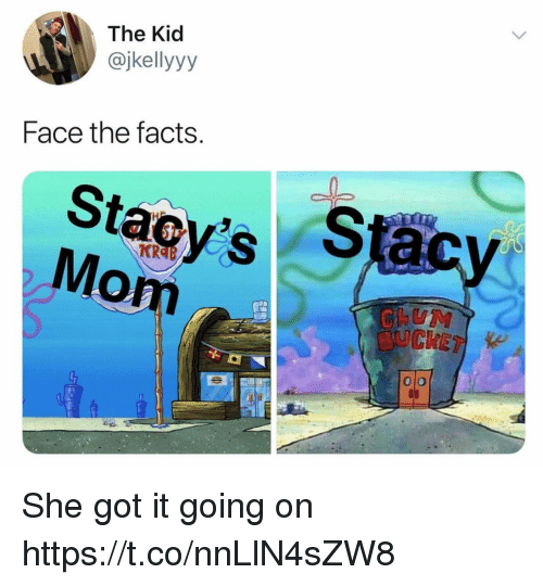 Facts, Funny, and Got: The Kid  @jkellyyy  Face the facts  Stacy's S  KR  om  0 o She got it going on https://t.co/nnLlN4sZW8