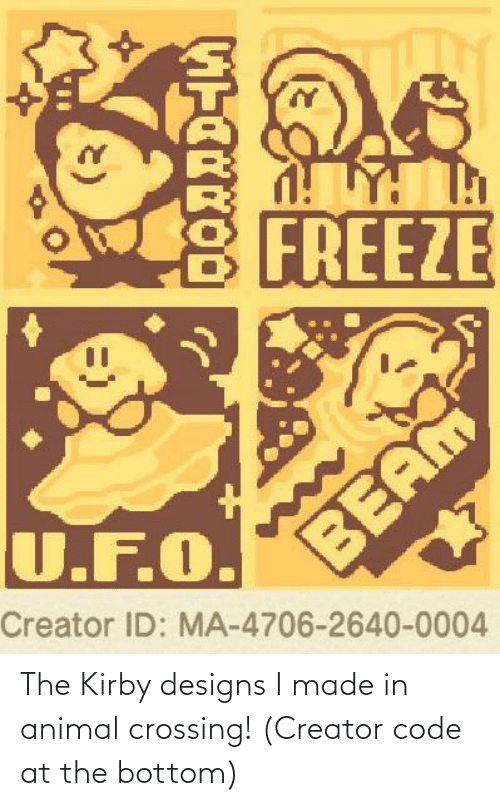 The Kirby Designs I Made In Animal Crossing Creator Code At The
