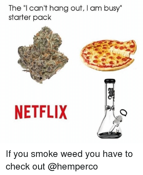 """Netflix, Weed, and Starter Pack: The """"l can't hang out, I am busy""""  starter pack  NETFLIX If you smoke weed you have to check out @hemperco"""