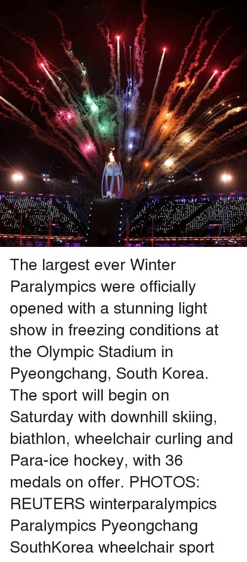 Hockey, Memes, and Winter: The largest ever Winter Paralympics were officially opened with a stunning light show in freezing conditions at the Olympic Stadium in Pyeongchang, South Korea. The sport will begin on Saturday with downhill skiing, biathlon, wheelchair curling and Para-ice hockey, with 36 medals on offer. PHOTOS: REUTERS winterparalympics Paralympics Pyeongchang SouthKorea wheelchair sport