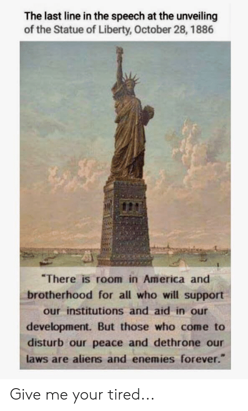 """America, Aliens, and Forever: The last line in the speech at the unveiling  of the Statue of Liberty, October 28, 1886  There is room in America and  brotherhood for all who will support  our institutions and aid in our  development. But those who come to  disturb our peace and dethrone our  laws are aliens and enemies forever."""" Give me your tired..."""