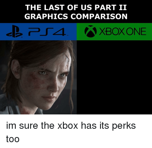 Memes, Xbox One, and Xbox: THE LAST OF US PART II  GRAPHICS COMPARISON  XBOX ONE im sure the xbox has its perks too