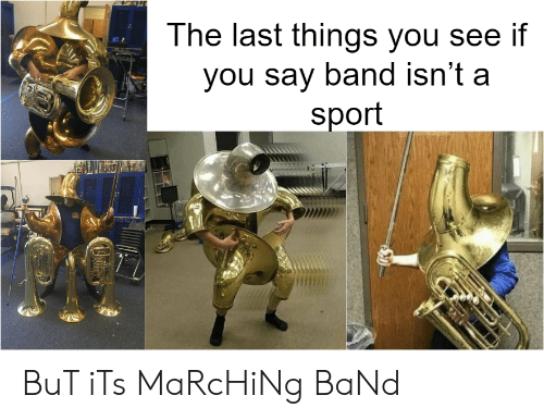 Band, Sport, and You: The last things vou see if  you say band isn't a  sport BuT iTs MaRcHiNg BaNd