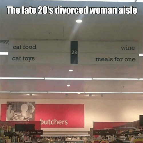 Food, Memes, and Wine: The late 20's divorced woman aisle  cat food  wine  23  cat toys  meals for one  butchers