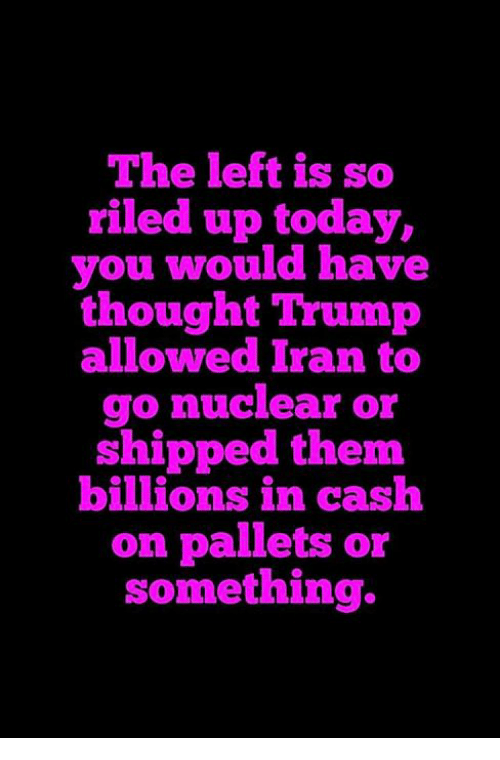 Memes, Iran, and Today: The left is so  riled up today,  you would have  thought Trump  allowed Iran to  go nuclear or  shipped them  billions in cash  on pallets or  something.