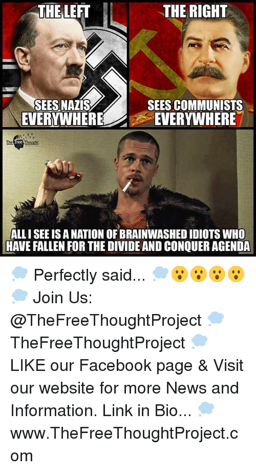 Facebook, Memes, and News: THE LEFT  THE RIGHT  SEES NAZIS  EVERYWHERE  SEES COMMUNISTS  EVERYWHERE  The  ALL I SEE IS A NATION OF BRAINWASHED IDIOTS WHO  HAVE FALLEN FOR THE DIVIDE AND CONQUER AGENDA 💭 Perfectly said... 💭😮😮😮😮💭 Join Us: @TheFreeThoughtProject 💭 TheFreeThoughtProject 💭 LIKE our Facebook page & Visit our website for more News and Information. Link in Bio... 💭 www.TheFreeThoughtProject.com