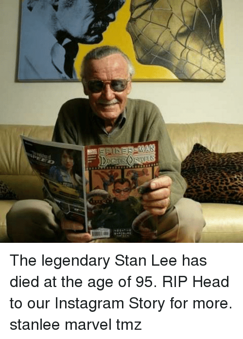 Head, Instagram, and Memes: The legendary Stan Lee has died at the age of 95. RIP Head to our Instagram Story for more. stanlee marvel tmz
