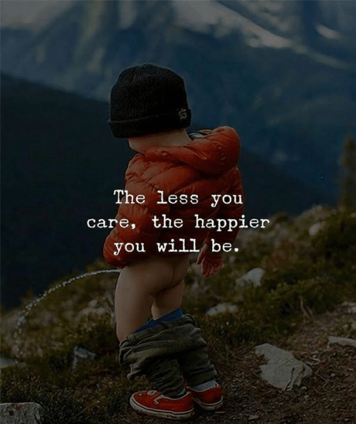 Will, You, and The Less You Care: The less you  care, the happier  you will be.