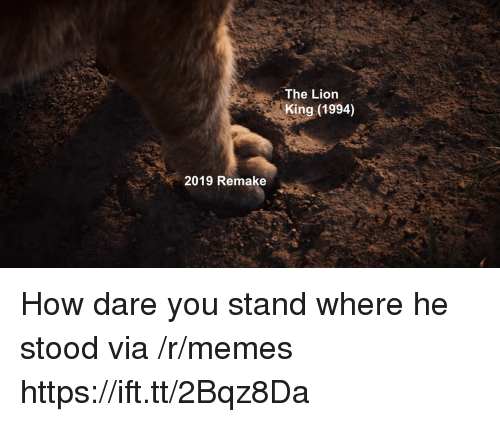 Memes, The Lion King, and Lion: The Lion  King (1994)  2019 Remake How dare you stand where he stood via /r/memes https://ift.tt/2Bqz8Da