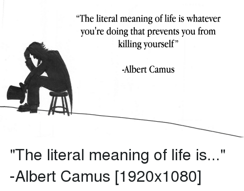 The Literal Meaning Of Life Is Whatever Youre Doing That Prevents