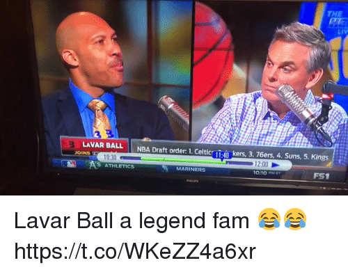 Philadelphia 76ers, Celtic, and Fam: THE  LIV  LAVAR BALL  NBA Draft order: 1. Celtic  40 kers, 3. 76ers, 4. Suns, 5. Kings Eit  JOINS  10:30  2:00  S ATHLETICS  MARINERS  10:10 Lavar Ball a legend fam 😂😂 https://t.co/WKeZZ4a6xr