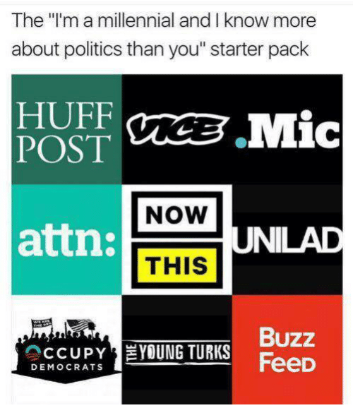 """Memes, Politics, and Huff: The l'm a millennial and I know more  about politics than you"""" starter pack  HUFF  NOW  attn:  UNILAD  THIS  Buzz  CCUPYEYOUNG TURKS FeeD  DEMOCRATS"""