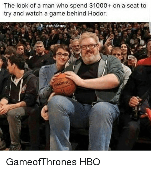 Hbo, Memes, and Game: The look of a man who spend $1000+ on a seat to  try and watch a game behind Hodor.  Thrones Memes  AIDING GameofThrones HBO