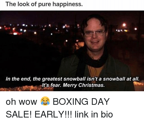Boxing, Christmas, and Memes: The look of pure happiness.  In the end, the greatest snowball isn't a snowball at all.  It's fear. Merry Christmas. oh wow 😂 BOXING DAY SALE! EARLY!!! link in bio