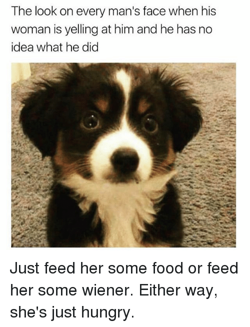 Food, Hungry, and Memes: The look on every man's face when his  woman is yelling at him and he has no  idea what he did Just feed her some food or feed her some wiener. Either way, she's just hungry.