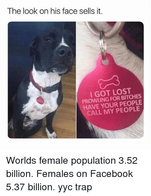 Facebook, Memes, and Trap: The look on his face sells it.  I GOT LOST  PROWLING FOR BITCHES  HAVE YOUR PEOPLE  CALL MY PEOPLE Worlds female population 3.52 billion. Females on Facebook 5.37 billion. yyc trap